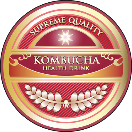 Kombucha Drink Product Label vector illustration design. Ilustracja