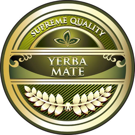 Yerba Mate Gold Label Icon Vector illustration.