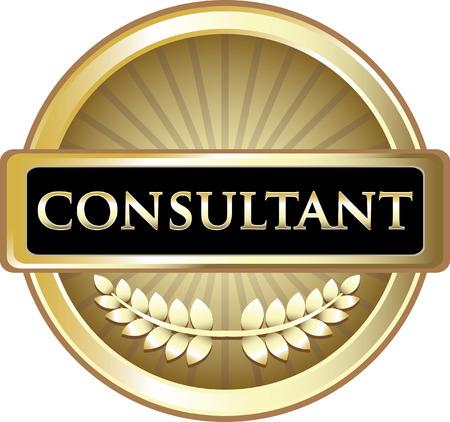 Consultant Gold Label Icon Illustration
