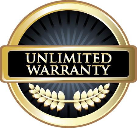 Unlimited Warranty Gold Label Vector illustration. Vettoriali