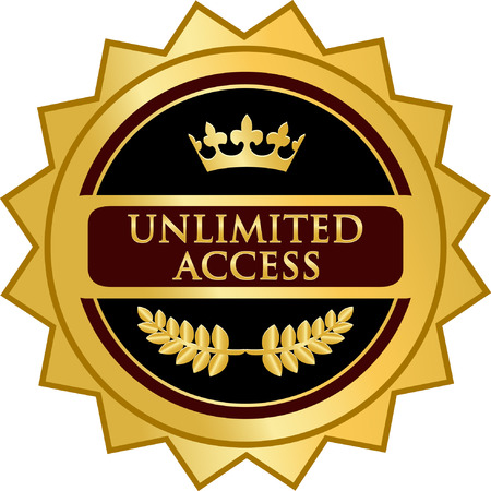 Unlimited Access Gold Label icon Vector illustration.