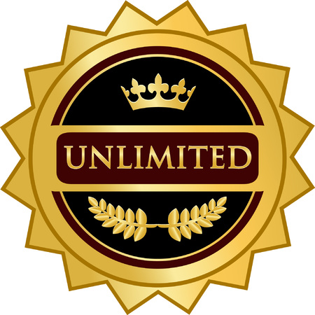 Unlimited Gold Label Icon Vector illustration. Stock Vector - 99489992
