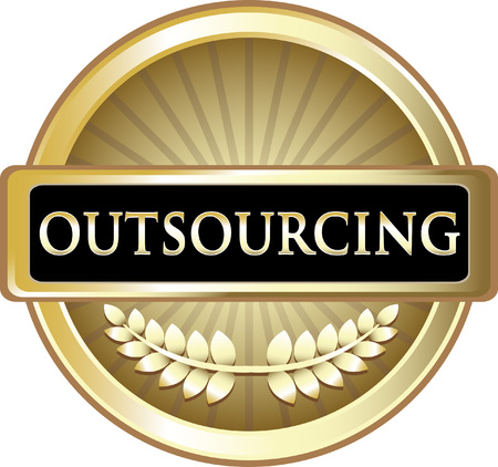 Outsourcing Gold Label Icon Vector illustration.