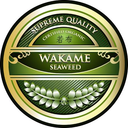 Wakame Seaweed Product Label Illustration