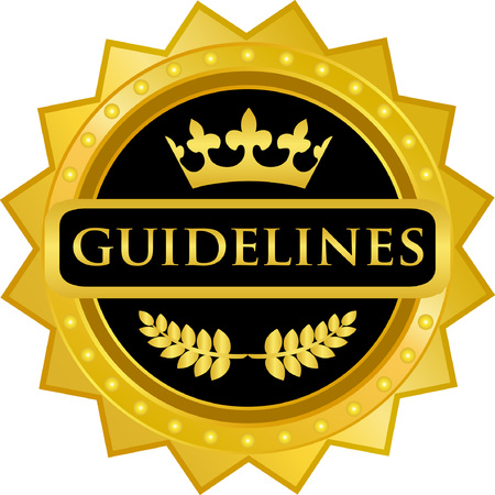 Guidelines text on  Gold Badge Icon Ilustração