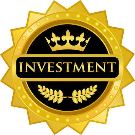 Investment text on Gold Badge Icon
