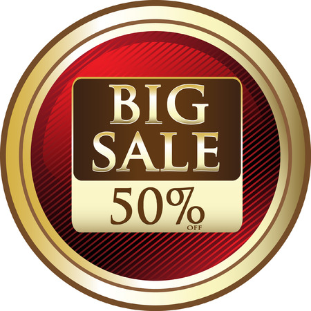Big Sale Fifty Percent Off Price Label Icon Ilustração