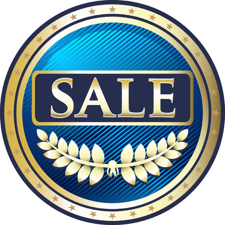 Sale Blue Icon with laurel illustration. Ilustração