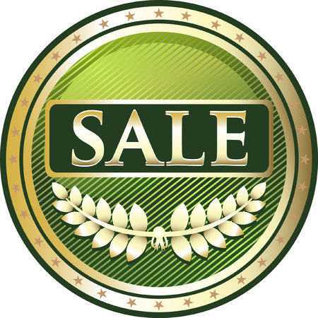 Sale Green Icon with laurel illustration.