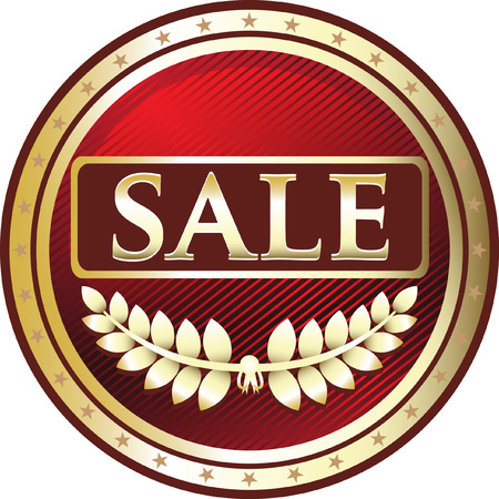 Sale Red Label Icon with laurel illustration.