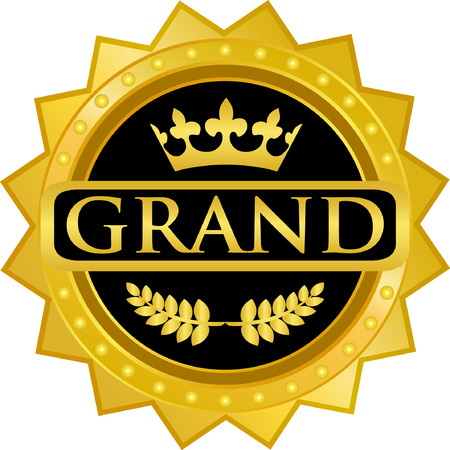 Grand text on Gold Badge Icon Ilustração