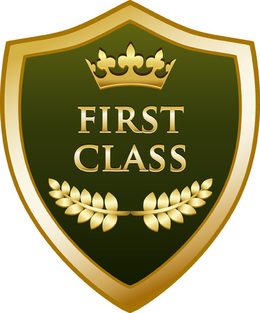 First Class text on Gold Shield Icon