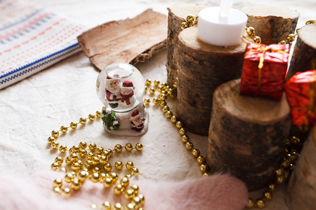 New Year composition from toys, wood, mittens, beads and postcards Stock Photo