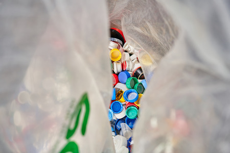 Large plastic bag for recycling. Separate garbage collection