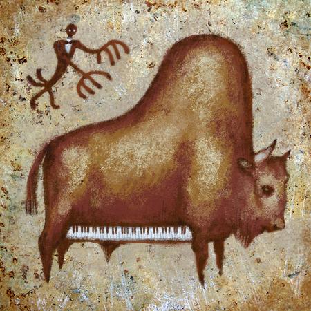 Funny cute grand piano buffalo hunting rock digital art painting Stock Photo