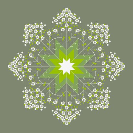 Beautiful green flower spring mandala Illustration