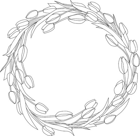 Wreath of tulips spring coloring page. Illustration
