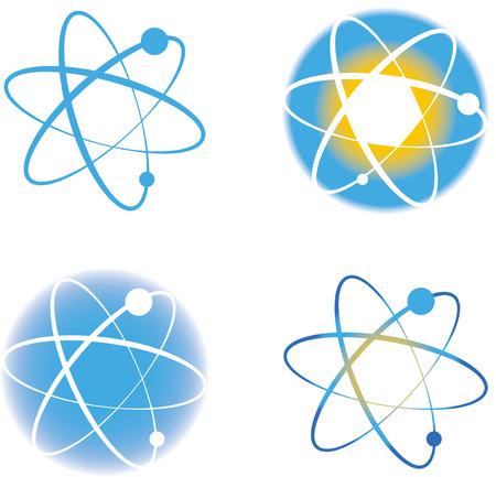 Set of atom molecule signs.