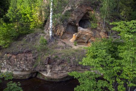 Sand rock cave in Ligatne Stock Photo