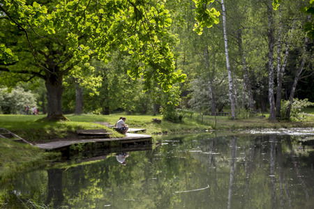 Romantic view of the pond in the summer Sigulda