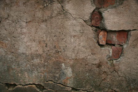 Texture of old damaged brick plaster cement wall