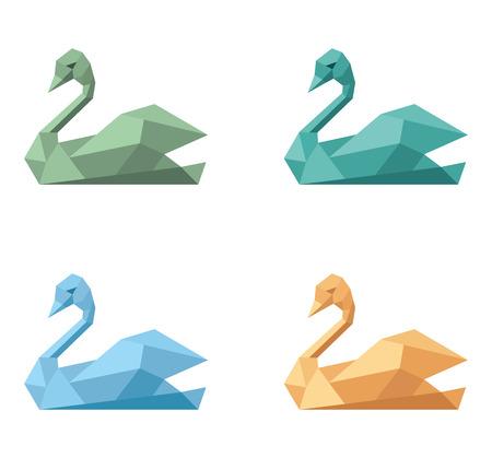 Logo symbol emblem swan variations set.