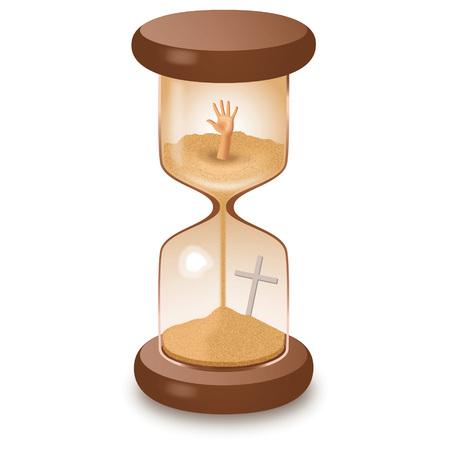 Hourglass sand glass leaking killing time vector illustration. Illustration
