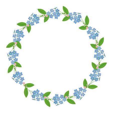 Myosotis forget-me-nots floral plant decor border wreath on white