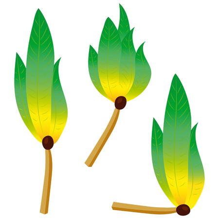 Green flame fire match ecology nature  symbol emblem design