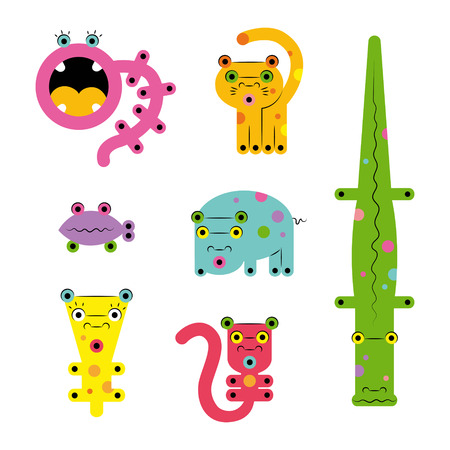 Set collection of unusual cute colored bright strange various cute colorful cartoon weird ?reatures monsters animals