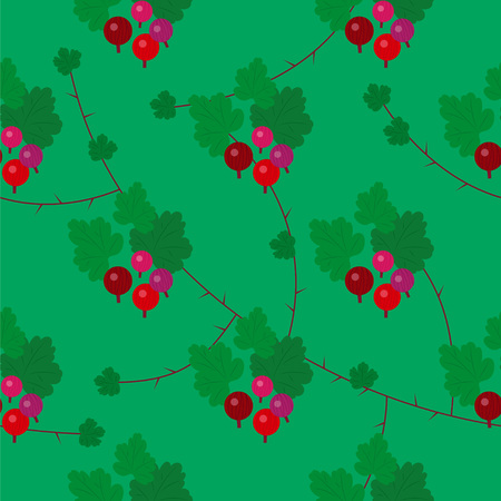 Beautiful elegant vector red green floral goosberry seamless pattern background