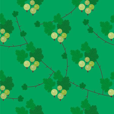 Beautiful elegant vector green floral goosberry seamless pattern