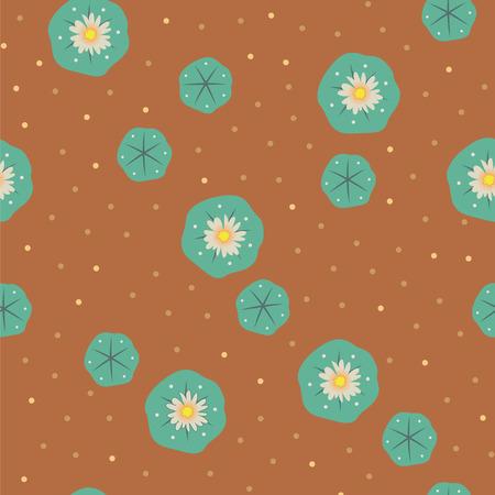 Vector floral peyote lophophora cactus green brown seamless pattern wallpaper background Illustration