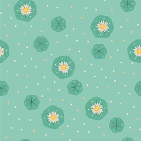 Vector floral peyote lophophora cactus green seamless pattern Illustration