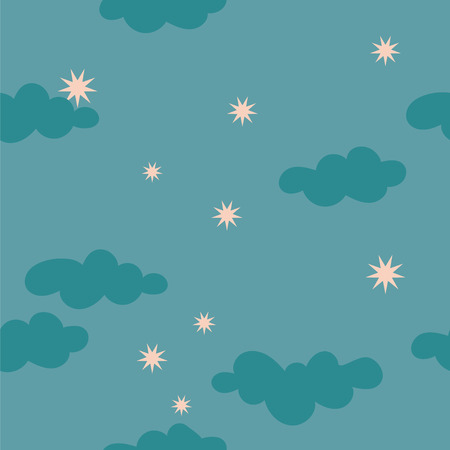 Cloudy starry night sky seamless pattern for textile  fabric paper package wallpaper