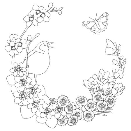 Spring floral outline elegant round outline wreath coloring page decoration