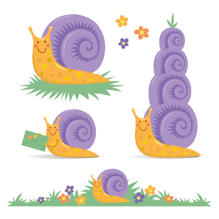 Set of various cute cartoon snails characters collection clip-art. Ilustracja