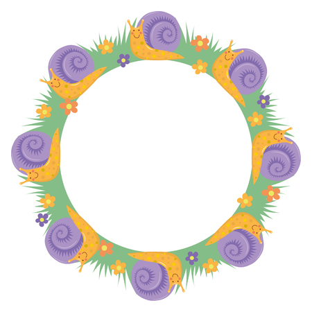Carton sweet cute snail round border frame wreath decoration.