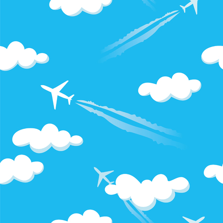 Simple blue cloudy sky airplanes seamless pattern. Illustration