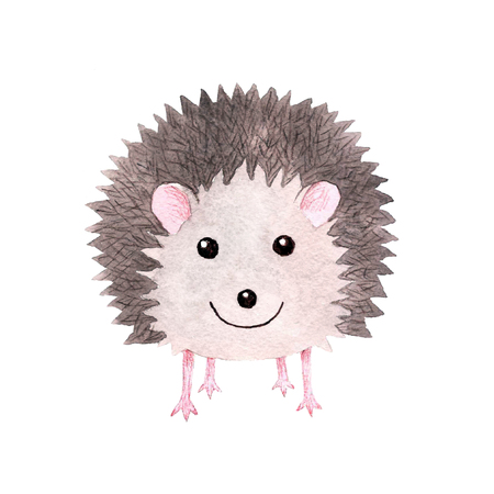 Cute smiling watercolor aquarelle hedgehog art print Stock Photo