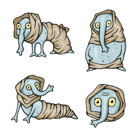 Strange weird creatures set Illustration
