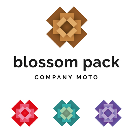 Set of packaging blossom logo identity