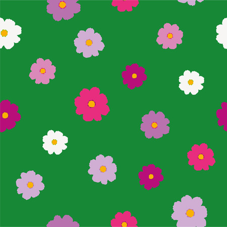 Simple bright cosmos flower seamless pattern