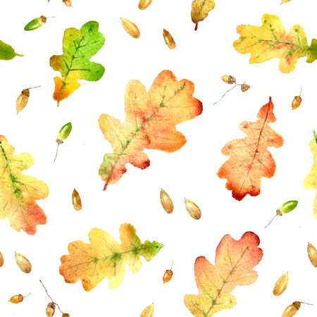 Watercolor fallen oak leaves hand drawn colorful bright seamless pattern