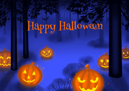 Happy Halloween illustration poster or postcard art illustration Stock Photo