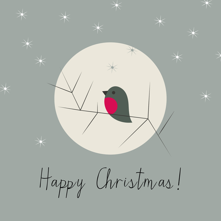 Simple Christmas winter greeting card with bullfinch Illustration