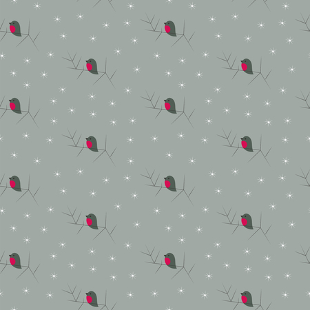 Christmas winter cute bullfinches seamless pattern Stock Vector - 88047300