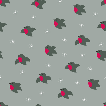 Christmas winter cute bullfinches seamless pattern