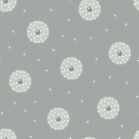Beautiful elegant muted colors gentle serene floral white dandelions on gray seamless pattern Stock Vector - 88312839