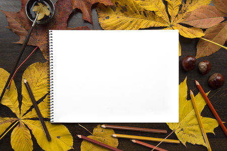 Autumn composition with empty album and fallen leaves Stock Photo - 89027284
